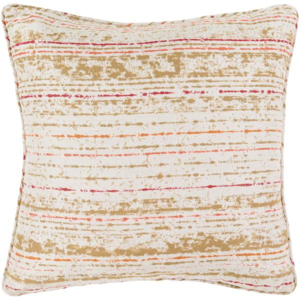 Marceline Orange Striped Polyester 16 in. x 16 in. Throw Pillow