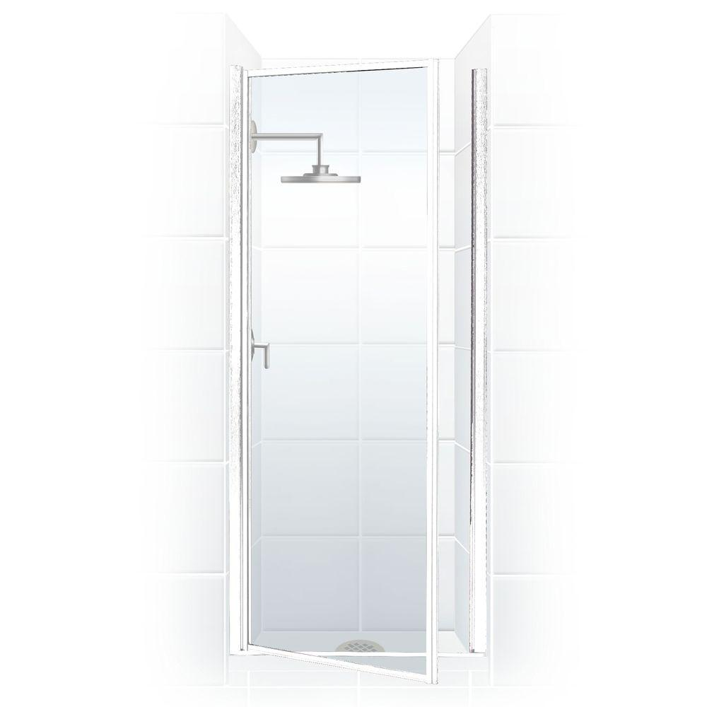 Coastal Shower Doors Legend Series 27 in. x 64 in. Framed Hinged Shower Door in Platinum with Clear Glass