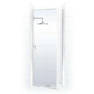 Legend Series 28 in. x 64 in. Framed Hinged Shower Door in Platinum with Clear Glass