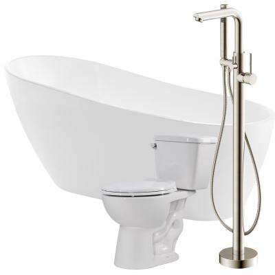 Trend 67 in. Acrylic Flatbottom Non-Whirlpool Bathtub in Glossy White with Sens Faucet and Cavalier 1.28 GPF Toilet