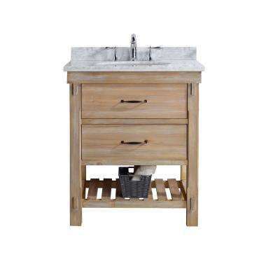 Marina 30 in. Single Bath Vanity in Driftwood with Marble Vanity Top in Carrara White with White Basin