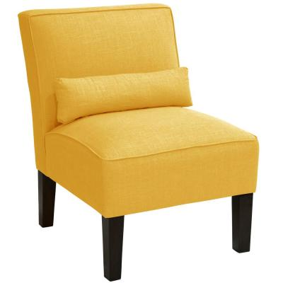Linen French Yellow Armless Chair