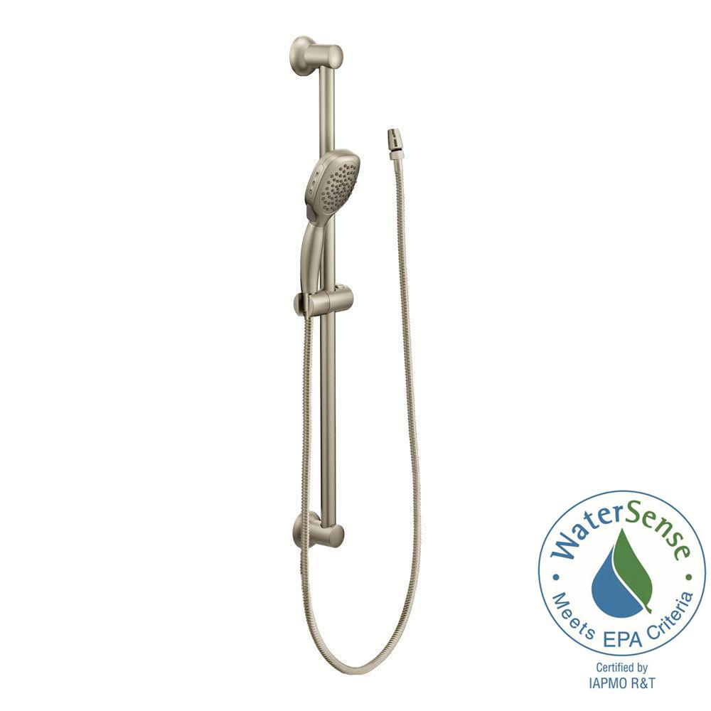 MOEN Twist 4 Spray Handheld Handshower With Slide Bar In Brushed Nickel S3870EPBN    The Home Depot
