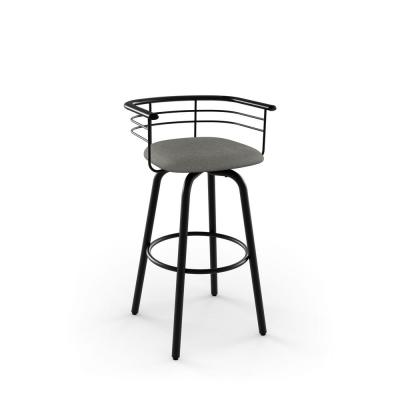 Turbo 26 in. Textured Black Metal Light Cold Grey Polyester Counter Stool