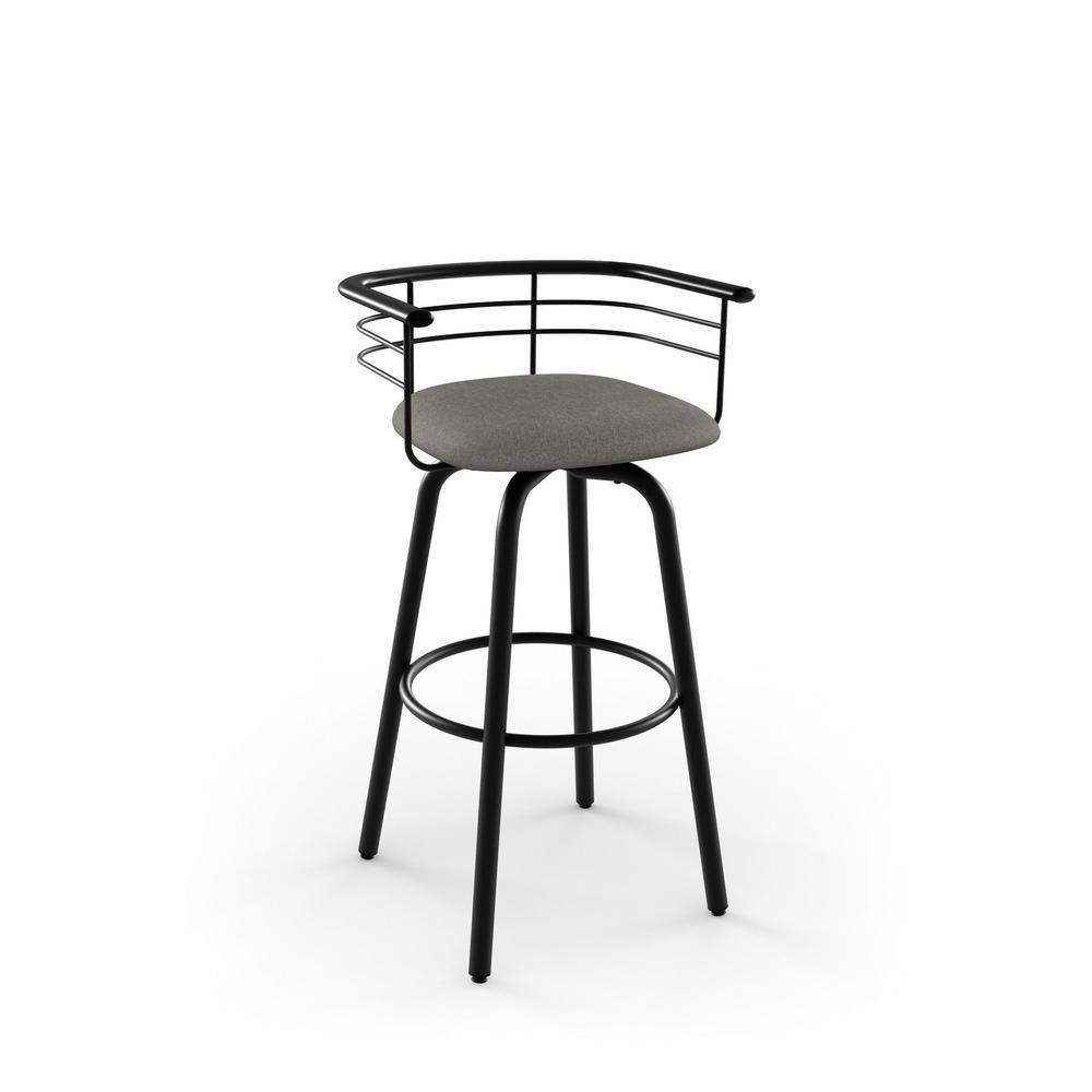 Turbo 30 in. Textured Black Metal Light Cold Grey Polyester Barstool