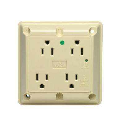 15 Amp Hospital Grade Extra Heavy Duty 4-in-1 Grounding Surge Outlet with Indicator Light, Ivory