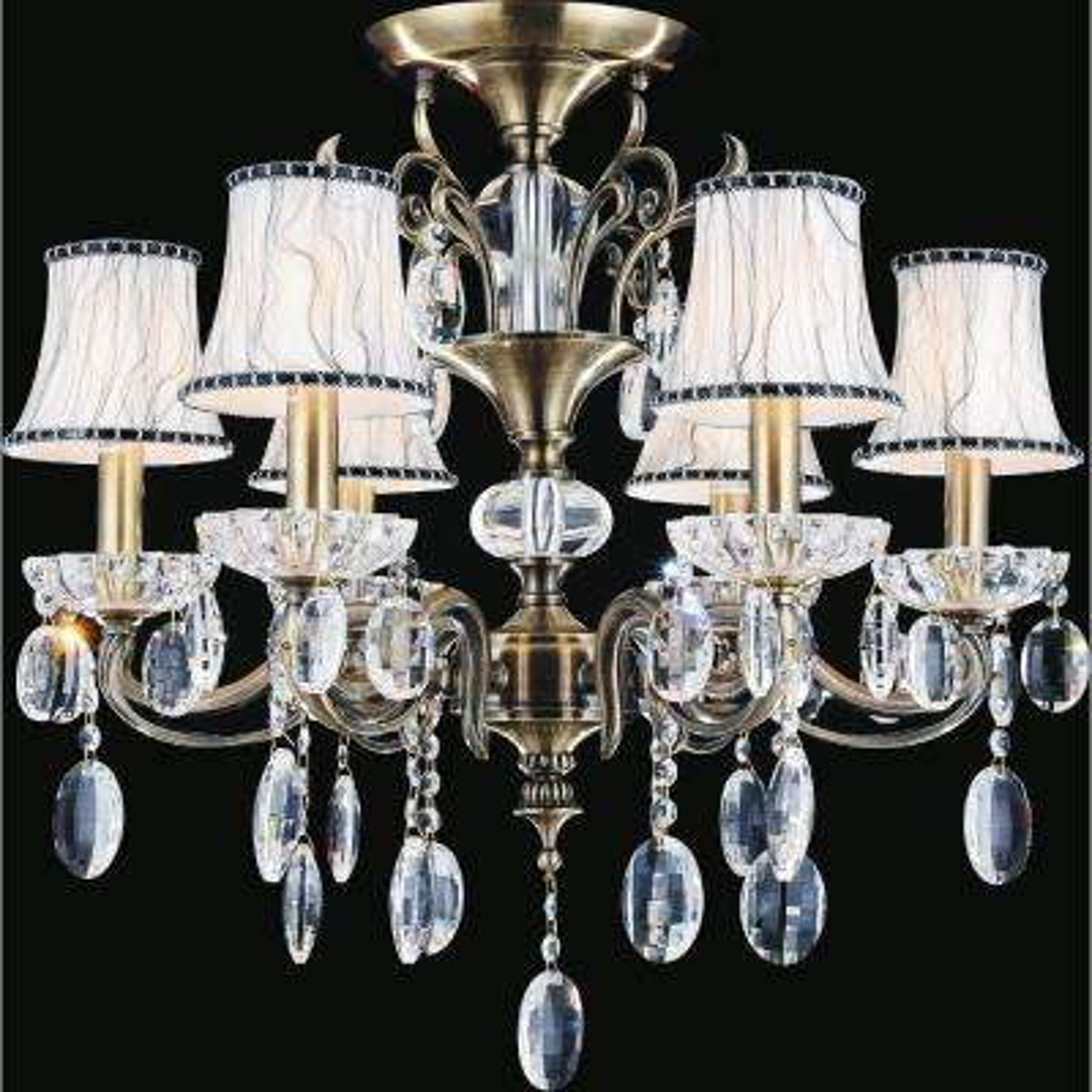 Flawless 6-Light Antique Brass Semi-Flush Mount