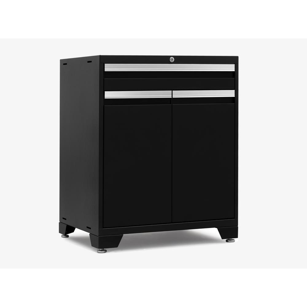 Pro 3.0 28 in. W x 35.5 in. H x 22 in. D 18-Gauge Welded Steel 2-Door Base Freestanding Cabinet Set in Black