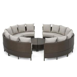 10-Piece Wicker Patio Sectional Seating Set with Ceramic Gray Cushions