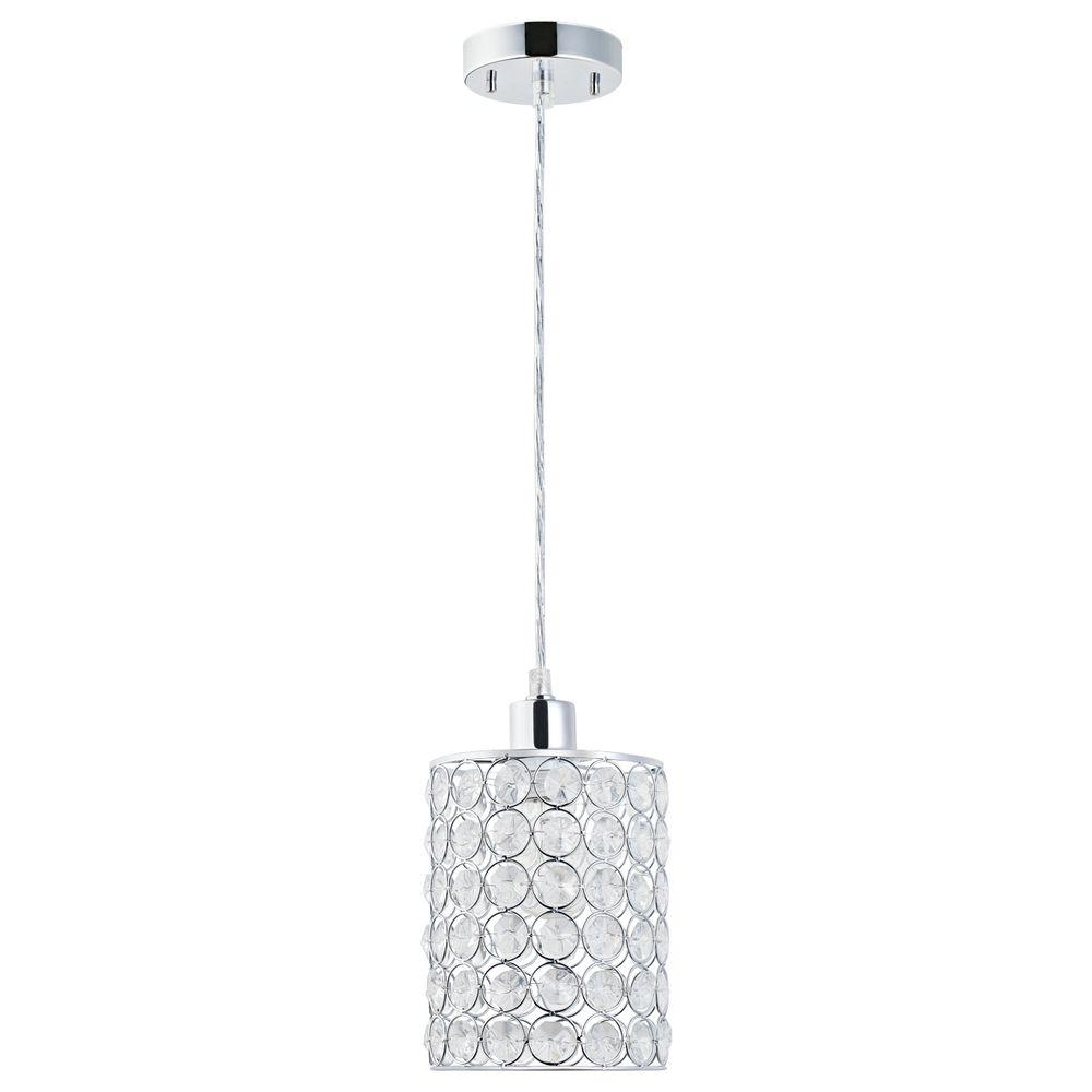 Globe Electric 1 Light Chrome With Crystal Shade Mini Pendant