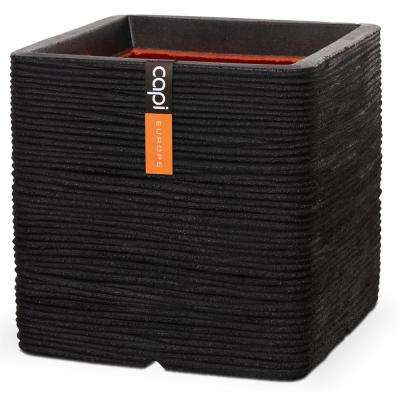 11.80 in. L x 11.80 in. W x 11.80 in. H Black Polyurethane Ribbed Square Planter
