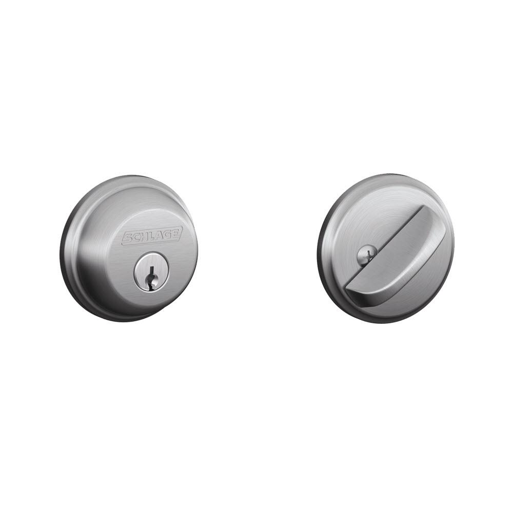 fbbf31f9db9b03 Schlage Satin Chrome Single Cylinder Deadbolt-B60N 626 - The Home Depot