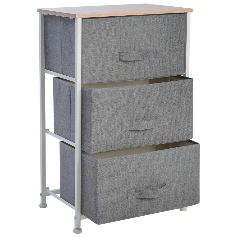 "17.7""x 11.8""x 28.75"" 3-Drawer Storage Chest in Grey"