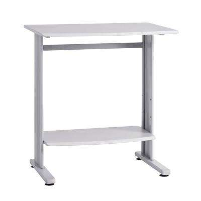 40 in. H x 37 in. W x 27 in. D Grey Beveled Edge Stand-Up Computer Desk in Grey