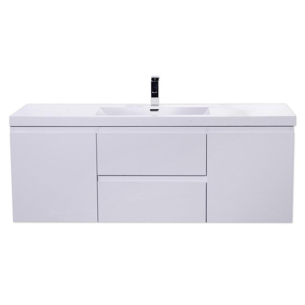 60 in. Vanity in High Gloss White with Single Sink Acrylic