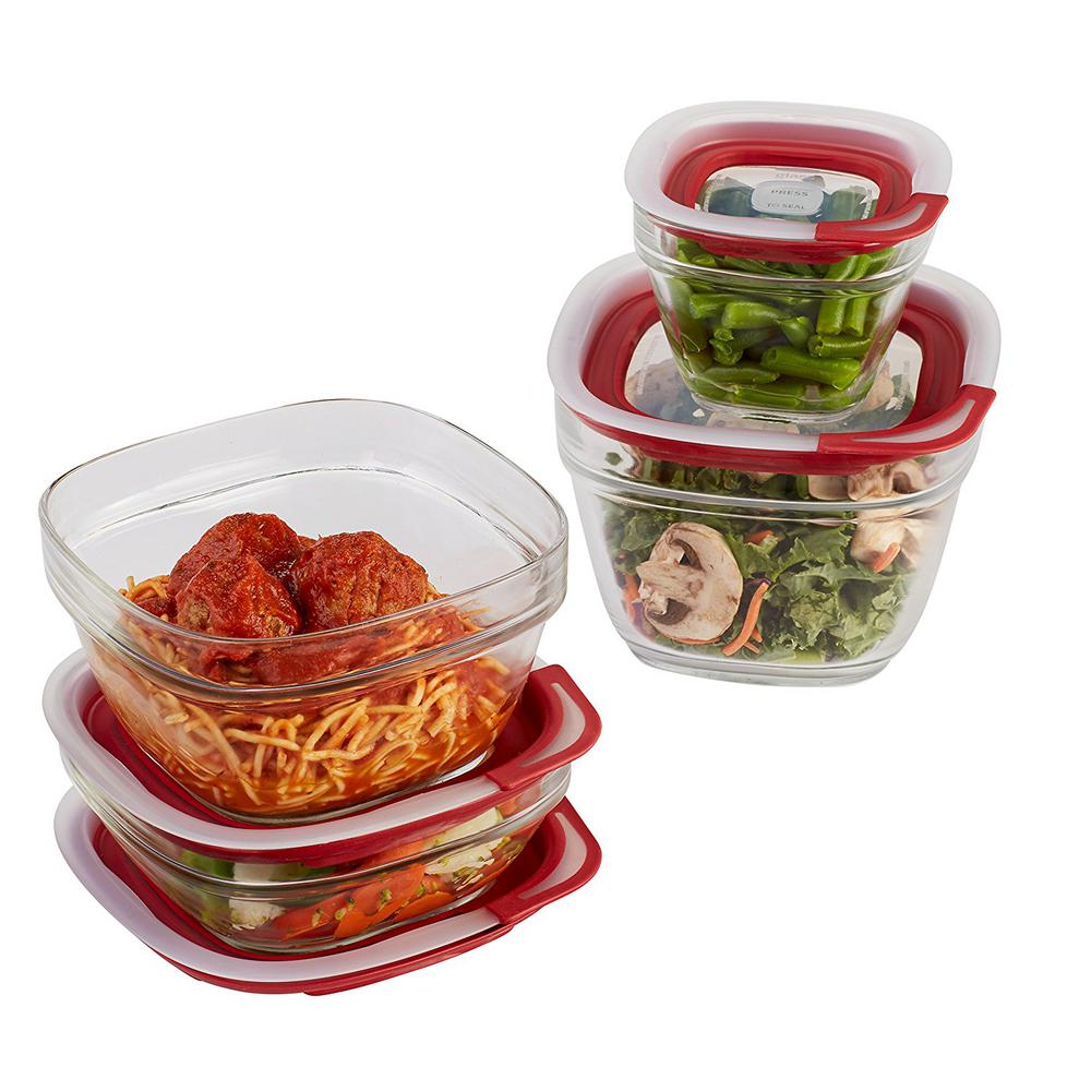 rubbermaid 8-piece easy find glass storage container set-2856008