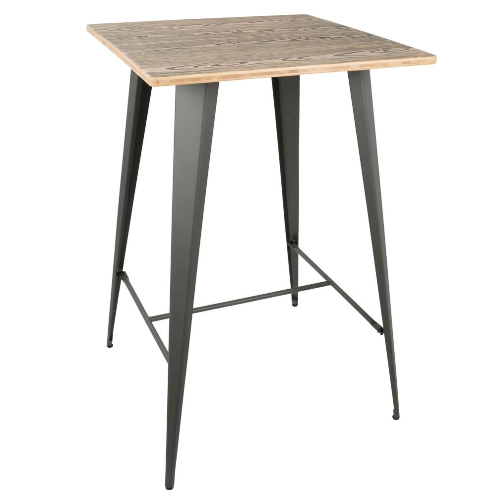 Lumisource Oregon Grey and Brown Pub Table, Grey/Brown