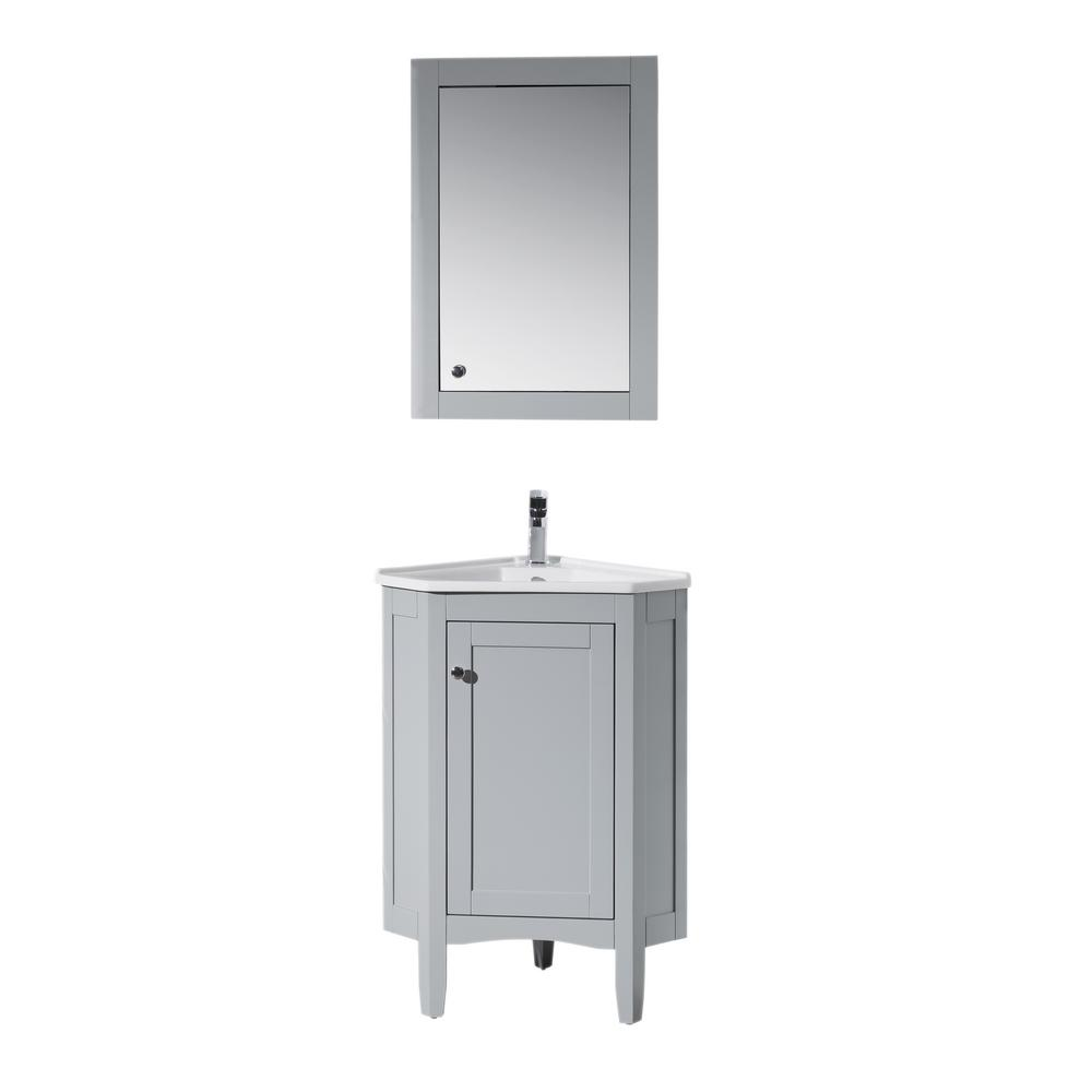 stufurhome Monte 25 in. W x 18 in. D Corner Vanity in Grey with Porcelain Vanity Top with White Basin and Mirror Cabinet