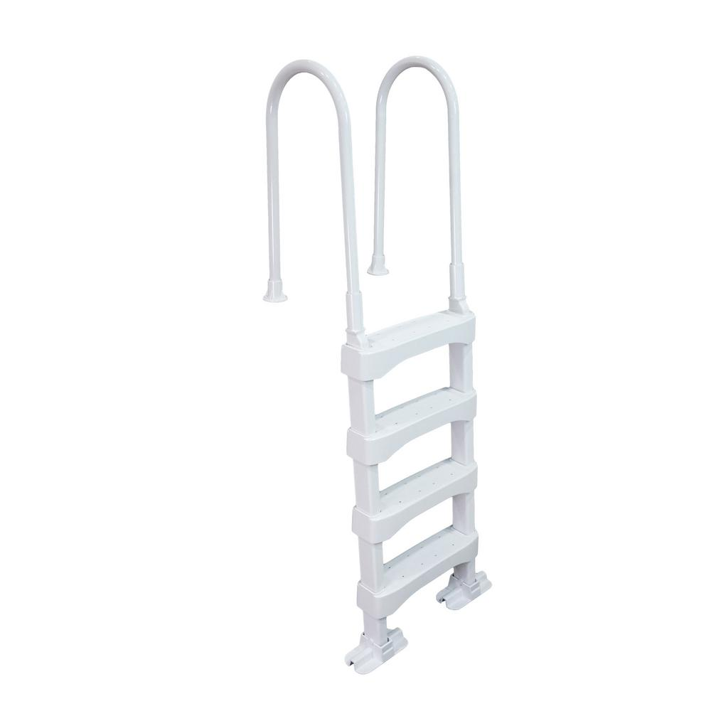 The Vinyl Works In-Pool 4 Step Ladder for 60 in. Swimming Pool Walls in  White Above Ground