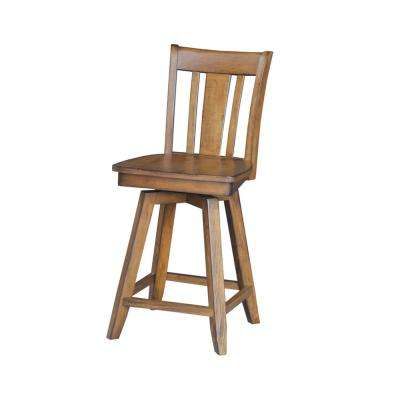 San Remo 24 in. Distressed Pecan Swivel Bar Stool