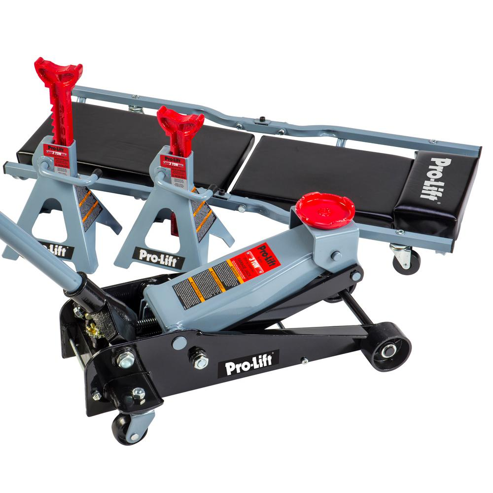 3-Ton Heavy-Duty Floor Jack/Jack Stands and Creeper Combo-Great for Service