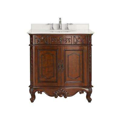 Winslow 33 in. W x 22 in. D Vanity in Antique Cherry with Marble Vanity Top in White with White Basin