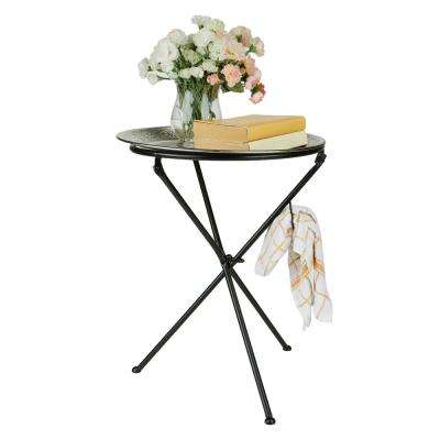Silver Detachable Tray Table Elegant Modern Tunisian Decor Lightweight Aluminum Table