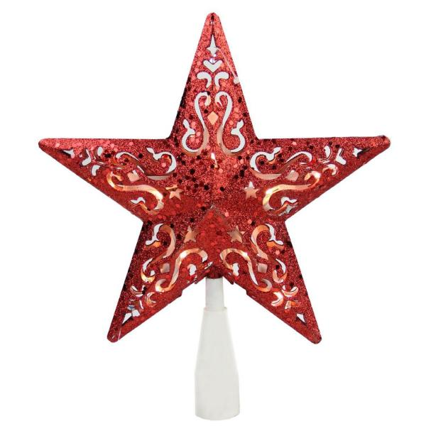 8.5 in. Red Glitter Star Cut-Out Design Christmas Tree Topper - Clear Lights