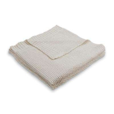 Sweater Weather Knitted Natural/Silver 50 in. x 60 in. Throw Blanket