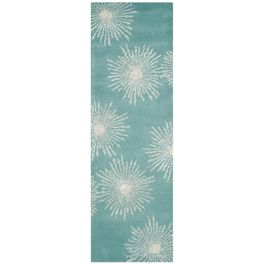 Soho Light Teal/Multi 2 ft. 6 in. x 8 ft. Runner