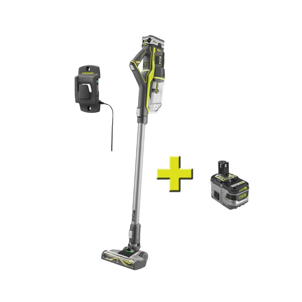 RYOBI 18-Volt ONE+ Stick Vacuum Cleaner with 4.0 Ah LITHIUM+ Battery, (1) 9.0 Ah LITHIUM+ Battery, and Wall Adaptor/Charger