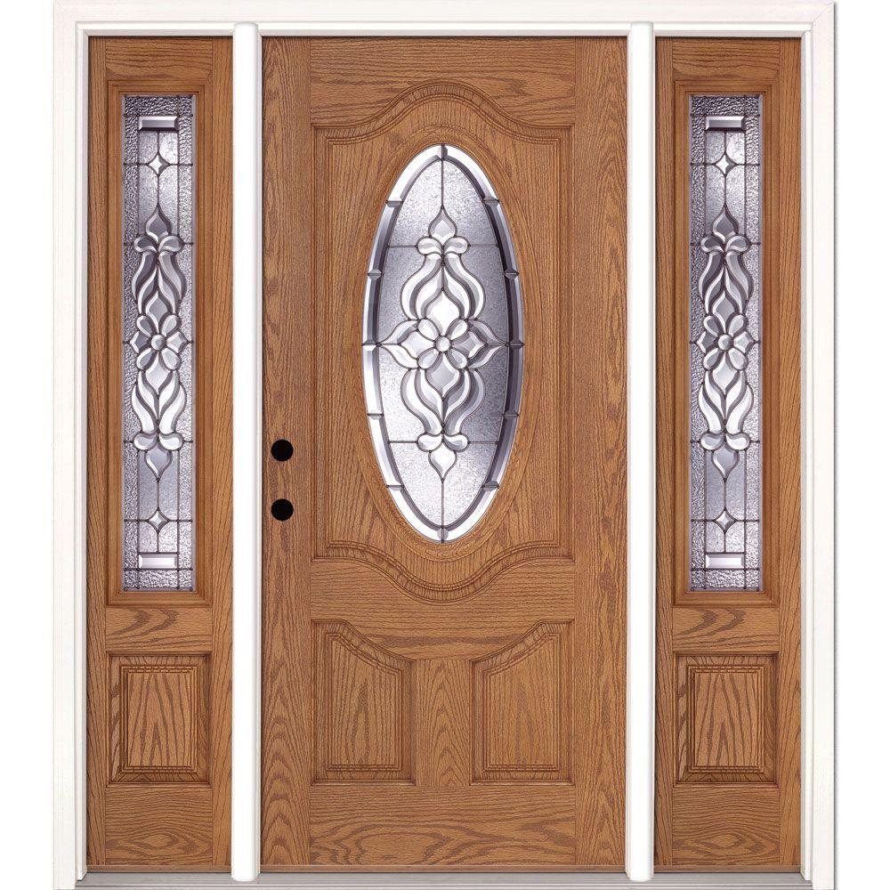 Feather River Doors 67.5 in.x81.625 in. Lakewood Zinc 3/4 Oval Lite Stained Light Oak Right-Hand Fiberglass Prehung Front Door w/ Sidelites