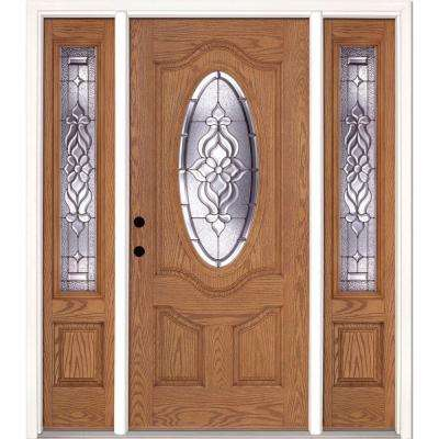 67.5 in.x81.625 in. Lakewood Zinc 3/4 Oval Lite Stained Light Oak Right-Hand Fiberglass Prehung Front Door w/ Sidelites