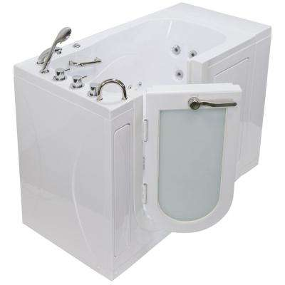 Monaco Acrylic 52 in. Walk-In Whirlpool Bath in White with 5 Piece Thermostatic Faucet Set and Left 2 in. Dual Drain