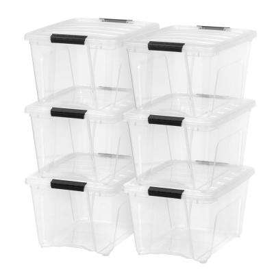 32 Qt. Stack and Pull Storage Box in Clear (6-Pack)