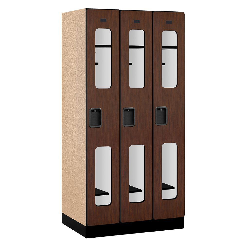 S-31000 Series 36 in. W x 76 in. H x 21 in. D Single Tier See-Through Designer Wood Locker in Mahogany