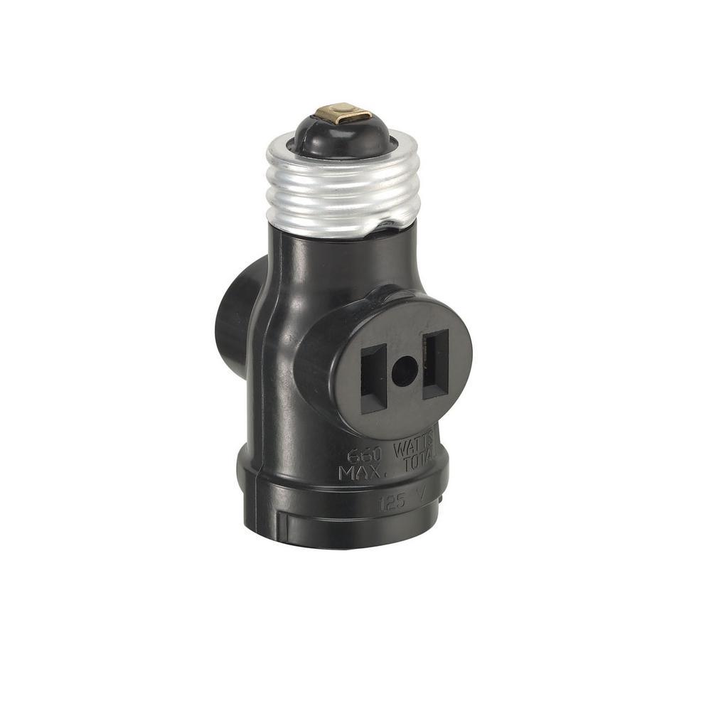 660-Watt 15 Amp 2-Outlet Socket Adapter, Black