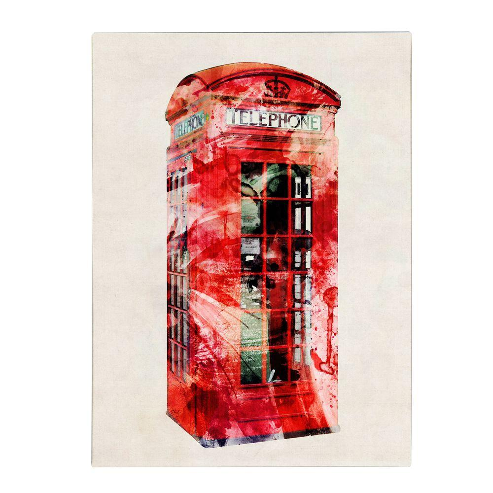 Trademark Fine Art 32 in. x 24 in. Telephone Box Canvas Art