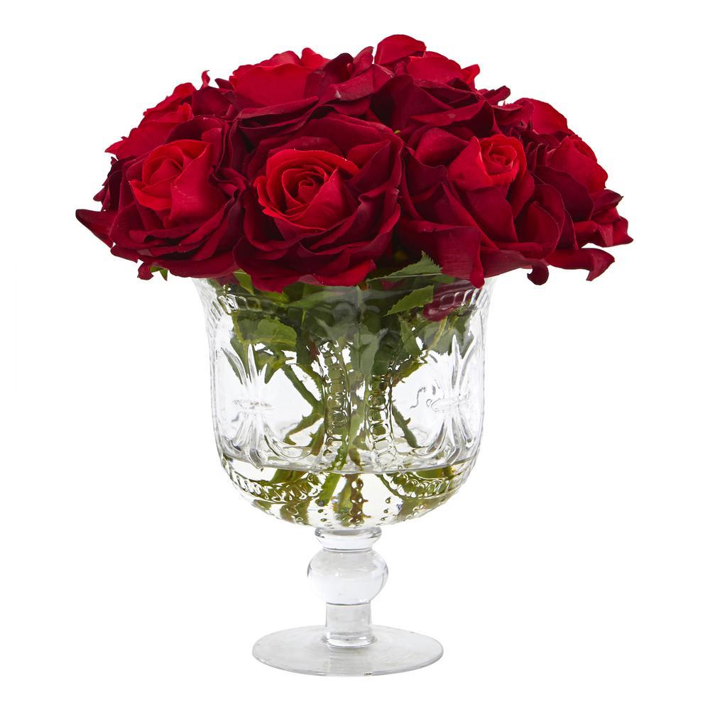 12 in. Rose Artificial Arrangement in Glass Urn
