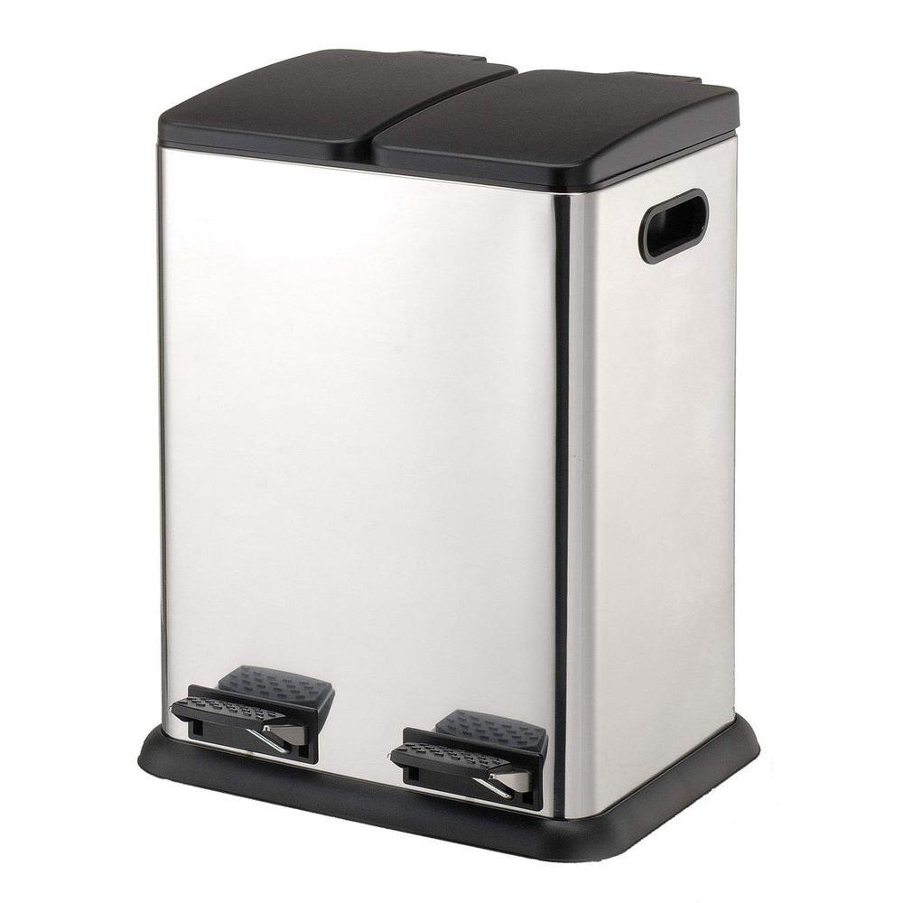 Neu HomeCare 10.57 Gal. Stainless Steel Square Two Compartment with 18.37 in. Step-On Recycling Bin, Silver Metallic