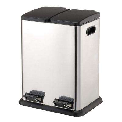 10.57 Gal. Stainless Steel Square Two Compartment with 18.37 in. Step-On Recycling Bin