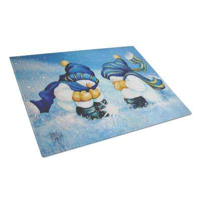 We Believe in Magic Snowman Tempered Glass Large Cutting Board