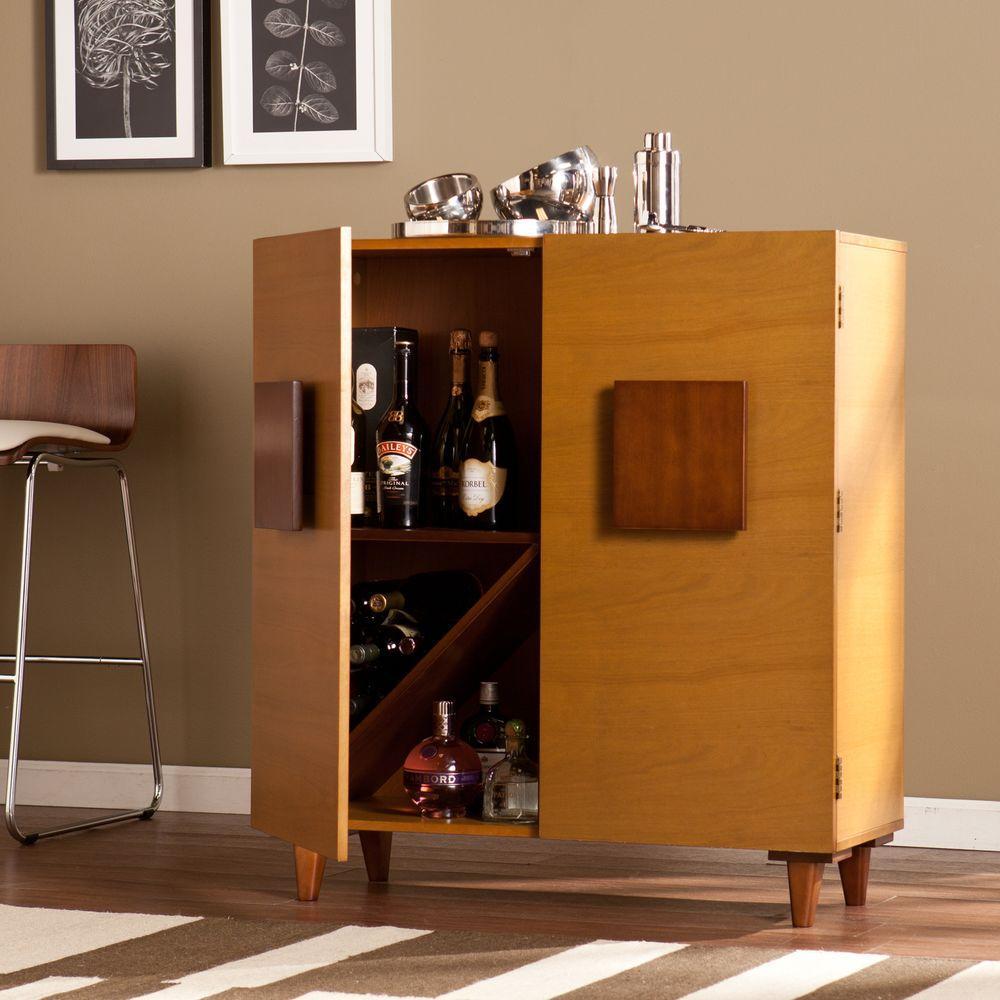 Two Tone Kitchen Cabinets Oak: Southern Enterprises Renrose Two-Toned Honey Oak Bar