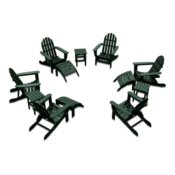 Icon Forest Green 12-Piece Plastic Adirondack Patio Conversation Seating Set