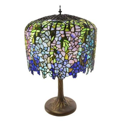 30 in. Multi-Colored Table Lamp with Stained Glass Tiffany Inspired Grand Wisteria Shade and Tree Trunk Base