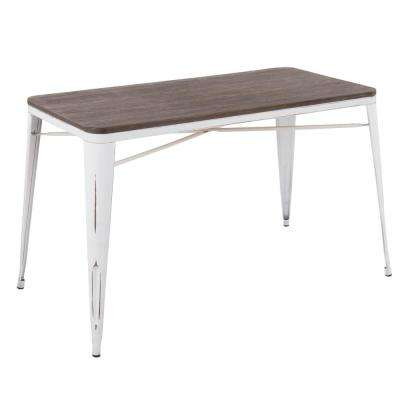 Oregon Vintage White and Espresso Utility Table