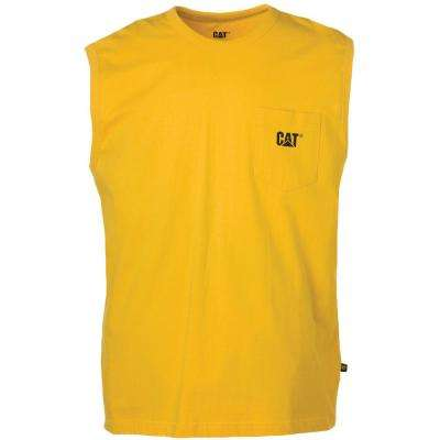 Men's Size Large Yellow Cotton Trademark Sleeveless Pocket T-Shirt