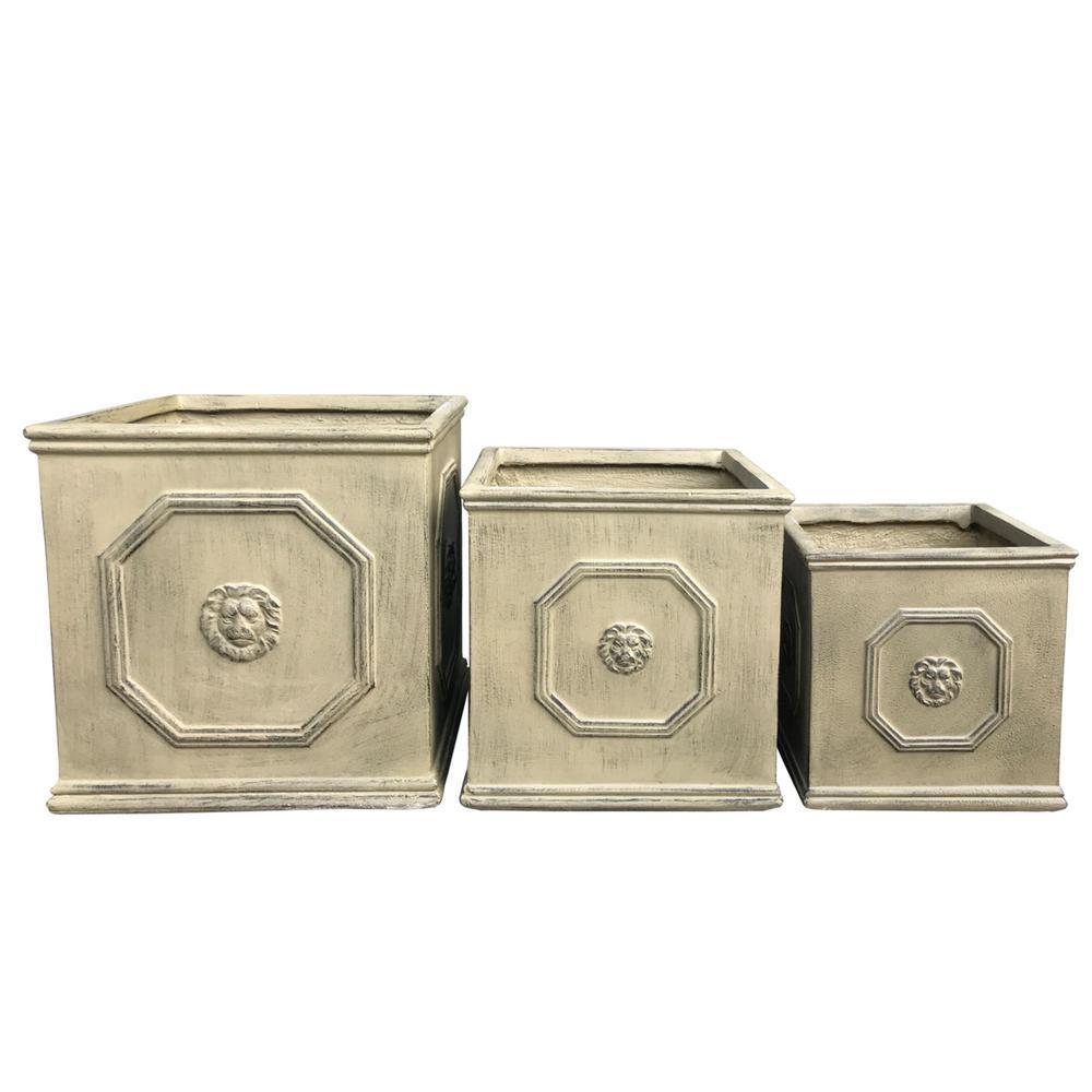 Lightweight Concrete Lion Head Square Brownstone Color Planter (Set of 3)