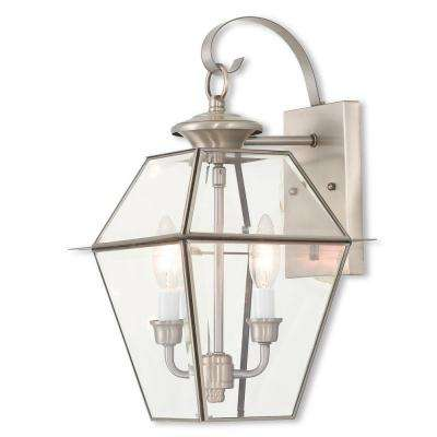 Westover 2-Light Brushed Nickel Outdoor Wall Mount Lantern