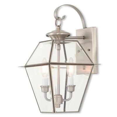 Westover 2-Light Brushed Nickel Outdoor Wall Lantern Sconce